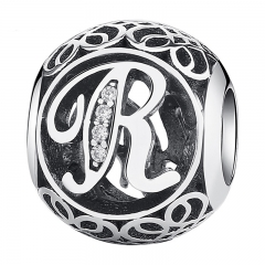 Original 925 Sterling Silver Vintage Alphabet Letter R Charms Fit Bracelets & Necklace With Clear CZ Jewelry PSC008-R