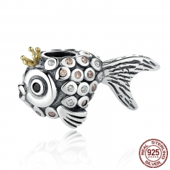 Lovely Vintage 925 Sterling Silver Crown Fish Beads Charms fit Bracelets & Necklaces DIY Accessories PSC038