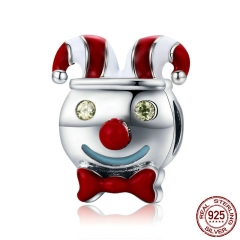 Authentic 100% 925 Sterling Silver Circus Clown Red Enamel Charm Beads fit Charm Bracelet Necklaces Jewelry Making SCC661