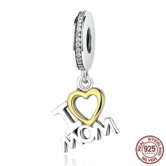 Classic 925 Sterling Silver I Love MOM Heart Pendants fit Bracelets for Women S925 Fine Jewelry SCC049