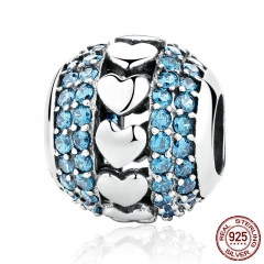 New 925 Sterling Silver Heart to Heart Charms with Blue Small Crystals Beads Fit Charm Bracelets Fine Jewelry SCC082