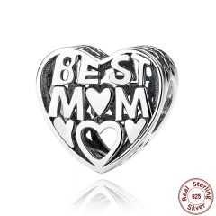 Mother Gift 925 Sterling Silver Jewelry BEST MOTHER CHARM Charms for Bracelet Women Accessories Fine Jewelry PAS278