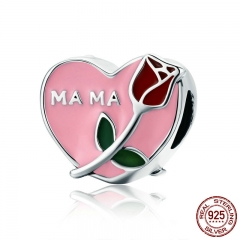 Authentic 925 Sterling Silver Mama Mother in Heart Rose Flower Beads fit Charm Bracelet Necklace Jewelry Gift Mom SCC652