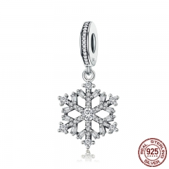 Hot Sale Genuine 925 Sterling Silver Sparkling CZ Snowflake Dangle Charm fit Women Charm Bracelet Jewelry SCC266