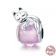 Authentic 100% 925 Sterling Silver Cute Cat Pussy Big Stone Charm Beads fit Women Bracelet DIY Beads Jewelry SCC447