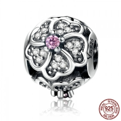 100% 925 Sterling Silver Rose Bouquet Flower Of Love Pink Crystal Beads fit Women Charm Bracelets Jewelry Gift SCC252