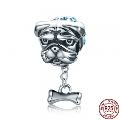 Genuine 925 Sterling Silver Cute Bulldog Dog Beads Doggy Blue CZ Charms fit Women Bracelets Jewelry Making S925 SCC187