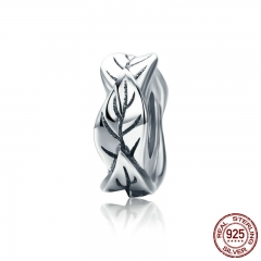 Spring Collection 925 Sterling Silver Stackable Tree Leaves Beads fit Charm Bracelet Necklace Fine Jewelry S925 SCC597