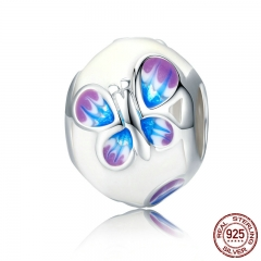 Spring Collection Real 925 Sterling Silver Spring Magic Butterfly, White Enamel Charm Beads fit Bracelets Jewelry SCC292