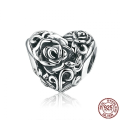 Romantic New 925 Sterling Silver Rose Flower Engrave Heart Beads fit Charm Bracelets & Bangles DIY Jewelry Making SCC790