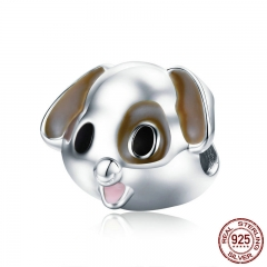Authentic 100% 925 Sterling Silver Puppy Pet Dog Doggy Animal Charm Beads fit Women Bracelet & Necklaces Jewelry SCC670