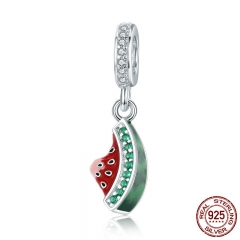 Authentic 925 Sterling Silver Watermelon Dazzling CZ Charm Pendant fit Charm Bracelet Necklace DIY Beads Jewelry SCC443
