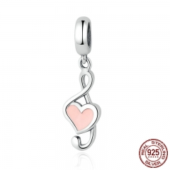 100% 925 Sterling Silver Pink Heart Pendant Music Note Charms fit Bracelets Women Fashion DIY Jewelry SCC110