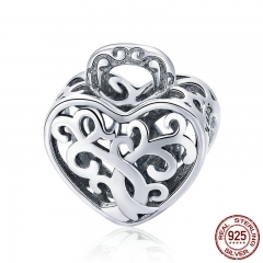 925 Sterling Silver Openwork Tree Leaves Leaf Heart Pave Beads fit Women Charm Bracelets Necklaces DIY Jewelry SCC726