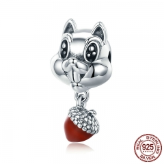 Genuine 100% 925 Sterling Silver Squirrel & Hazelnut Animal Charm fit Girls Charm Bracelet Girls Jewelry Gift SCC326