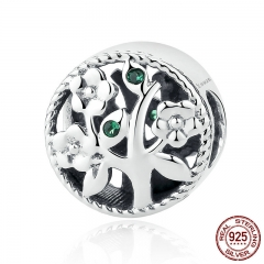 Fashion 100% 925 Sterling Silver Tree of Life Bead Charms fit Bracelets Women Beads & Jewelry Making SCC115