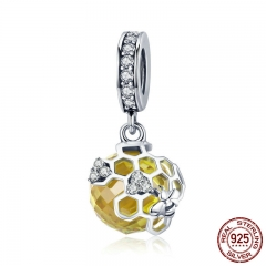 Trendy 925 Sterling Silver Honeycomb Bee Pendant Yellow CZ Cubic Zircon Charm fit Charm Bracelet DIY Jewelry SCC879