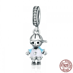 2018 New 100% 925 Sterling Silver Couple Little Girl & Boy Pendant Charm fit Girls Charm Bracelet DIY Jewelry SCC544