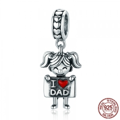 Authentic 925 Sterling Silver I Love Dad Mom Lovely Girl Boy Charm Pendant fit Charm Bracelet & Necklaces Jewelry SCC690