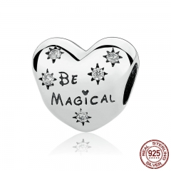Celebration Gift 925 Sterling Silver Be Magical Heart Beads Charms fit Bracelets for Women SilverJewelry PAS320