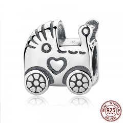 Authentic 925 Sterling Silver Baby Carriage Charm Charms fit Original Brand Bracelet Beads & Jewelry Making PAS308