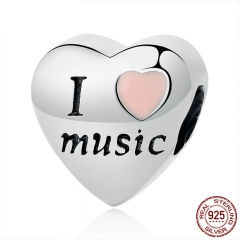 Hotsale 100% 925 Sterling Silver I Love Music Heart Beads Fit Charms Bracelets & Bangles DIY Accessories SCC120