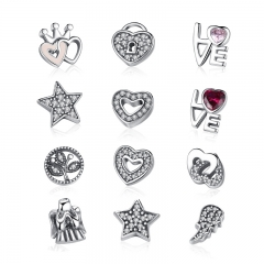 925 Sterling Silver Celestial ,Love & Family,Forever Hearts Petites Memories Beads Fit Floating Locket Necklaces PSF101