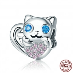 100% 925 Sterling Silver Adorable Cat in Heart Shape Charm Animal Beads fit Women Charm Bracelets DIY Jewelry BSC016