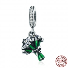 Romantic 925 Sterling Silver Daisy Flower Green Color Enamel Pendant Charms fit Women Bracelets jewelry Making SCC774