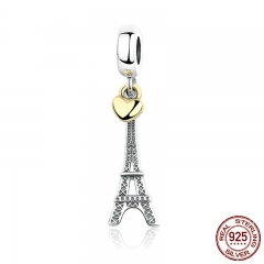 Classic 925 Sterling Silver EIFFEL TOWER PENDANT CHARM with Heart Charms fit Bracelets Women Accessories PAS348