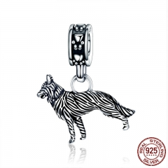 Animal Collection 925 Sterling Silver Human Friend Loyal Sheepdog Pendant Charm fit Women Bracelet DIY Jewelry SCC190