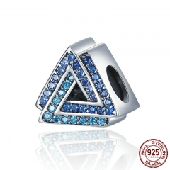 New Arrival 100% 925 Sterling Silver Geometric Triangle Gradual Change Blue CZ Beads fit Charm Bracelet jewelry SCC404