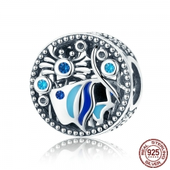 New Arrival 925 Sterling Silver Underwater World Fish Round Charm Beads Fit Bracelets Necklaces Jewelry Making SCC763