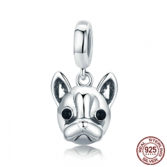 Hot Sale 925 Sterling Silver Animal Bulldog Pendant Dog Charm fit Women Charm Bracelets & Necklaces DIY Jewelry SCC817