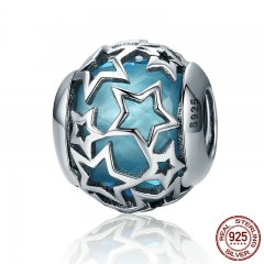 Popular 925 Sterling Silver Shimmering Star Openwork Blue Crystal Beads fit Women Bracelets & Bangles Jewelry SCC411