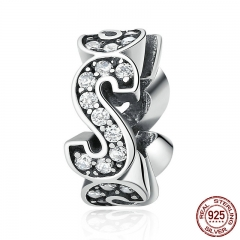 "Original Design Authentic 925 Sterling Silver Spacer ""S"" Charms fit Bracelets Women Beads & Jewelry Makings SCC102"