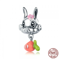 New Arrival 925 Sterling Silver Cute Carrot & Rabbit Dangle Charm fit Girls Charm Bracelet DIY Jewelry Girls Gift SCC324