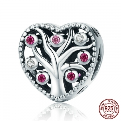 100% 925 Sterling Silver Openwork Tree of Life Pink CZ Charm Beads fit Women Bracelets & Necklaces DIY Jewelry SCC680