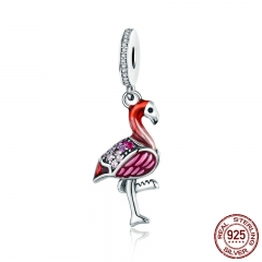 Trendy New 925 Sterling Silver Hot Red Bird Enamel Charms Pendant Fit Charm Bracelets & Necklaces Chain Jewelry SCC804