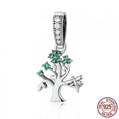 Genuine 925 Sterling Silver Vivid Green Tree of Life Pendant Charms fit Bracelets Women DIY Beads & Jewelry Making SCC117