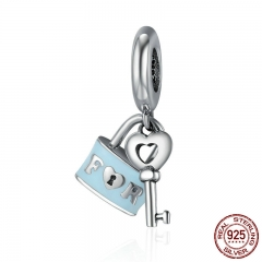 Valentine Day Gift 925 Sterling Silver Promise Of Love Lock & Love Key Pendant Charm Fit Charm Bracelet Jewelry SCC476
