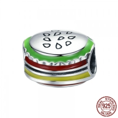 Authentic 925 Sterling Silver I Love Hamburger Food Color Enamel Beads fit Charm Bracelet & Bangle DIY Jewelry SCC462