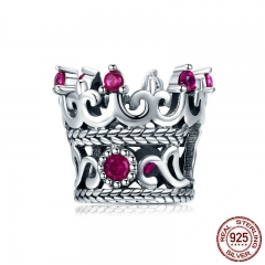 Trendy 925 Sterling Silver Queen's Crown Pink CZ Crystal Charm Beads Fit Women Bracelets Bangle DIY Jewelry Making SCC776