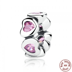 REAL 925 Sterling Silver FANCY PINK SPARKLING HEARTS SPACER CHARM Fit Charms Bracelet Women Fine Jewelry PAS303