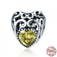 Genuine 925 Sterling Silver Leaves Wave Heart Yellow AAA Zircon Beads fit Charm Bracelet DIY Jewelry Making SCC573-11