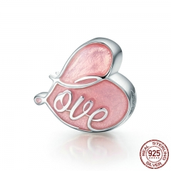 Romantic 925 Sterling Silver Charm Fall in Love Pave & Pink Enamel Heart Charms fit Original Bracelet Jewelry SCC133