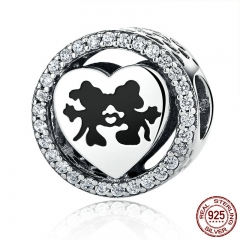 925 Sterling Silver Sparkling Sweet Cartoon Love Story with Clear CZ Charms Beads Fit Bracelet Jewelry PSC058