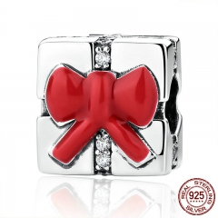 925 Sterling Silver Small Charm Red Bow Knot Christmas Gift Charms fit Women Bracelets Necklaces DIY Accessories SCC073
