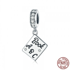 Genuine 925 Sterling Silver I Love Book Charm Diary Book Pendant fit Women Bracelet & Bangles DIY Jewelry Making SCC797