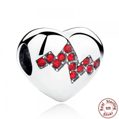 New Arrival 925 Sterling Silver Red Crystals Heart Beads Charms for Jewelry Making Mother Gift SCC017